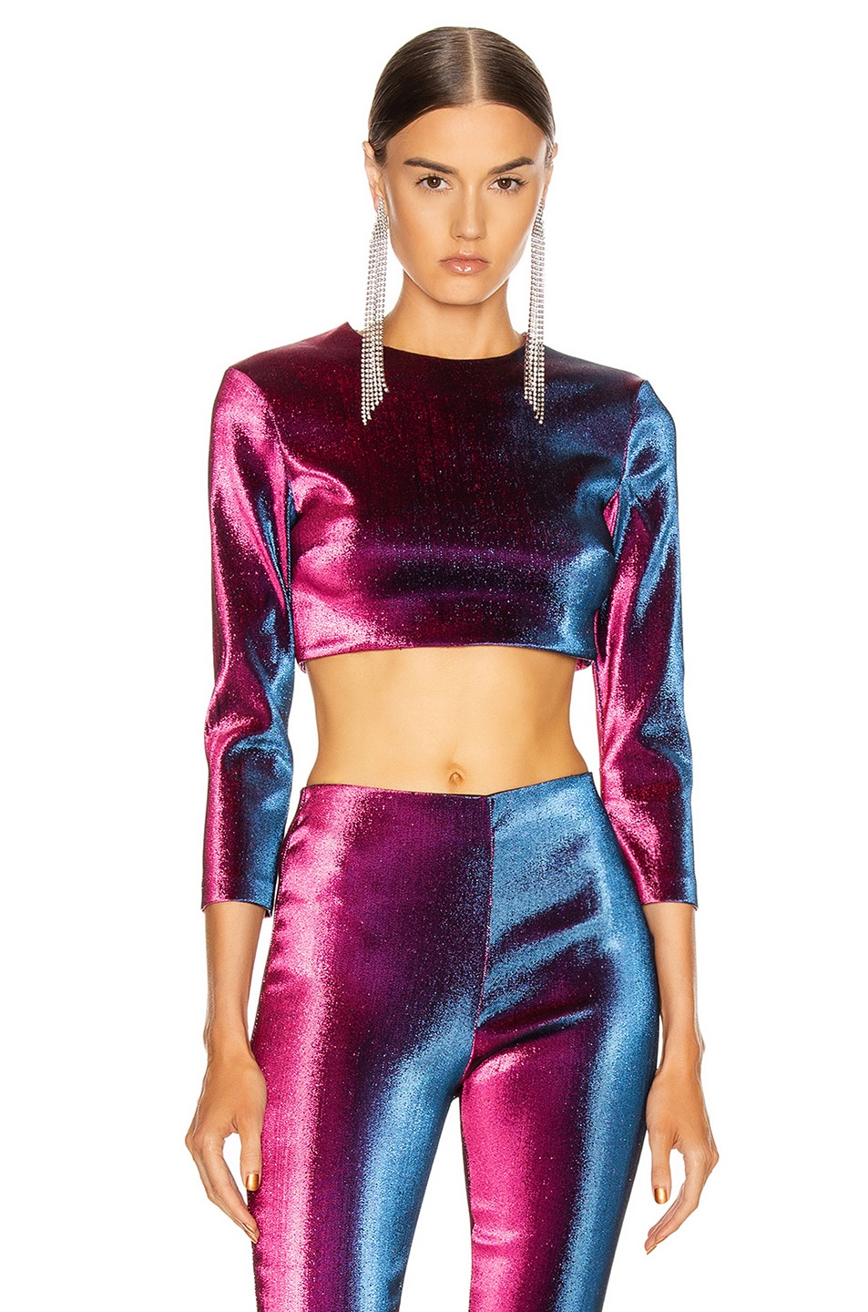 Image 1 of AREA Long Sleeve Cropped Top in Ultraviolet