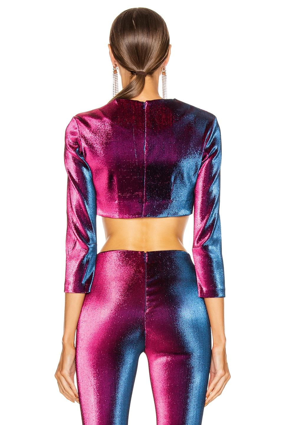 Image 3 of AREA Long Sleeve Cropped Top in Ultraviolet