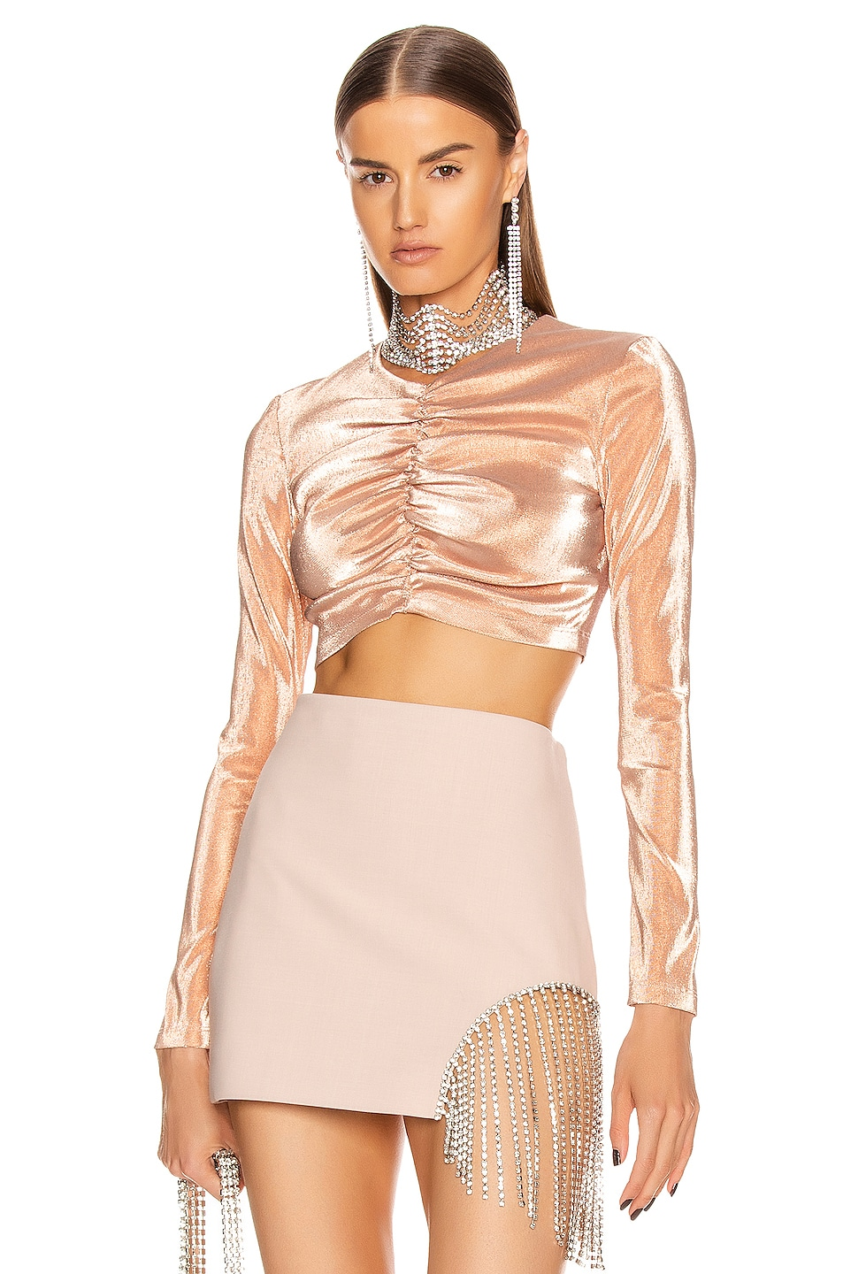 Image 1 of AREA Shirred Crop Top in Nude