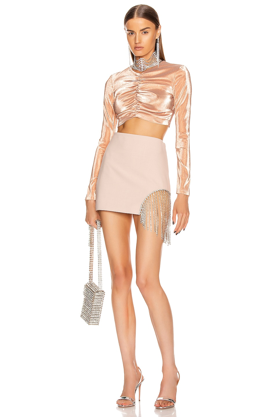 Image 4 of AREA Shirred Crop Top in Nude