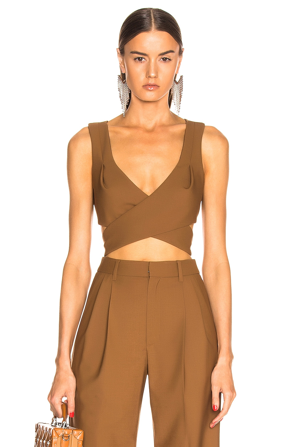 Image 1 of AREA Wrap Crop Top in Caramel