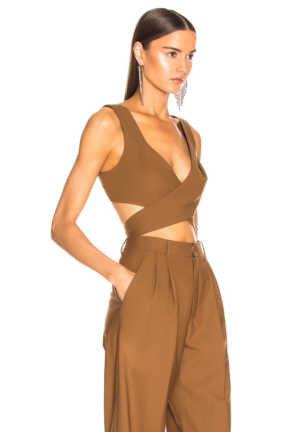 Image 2 of AREA Wrap Crop Top in Caramel