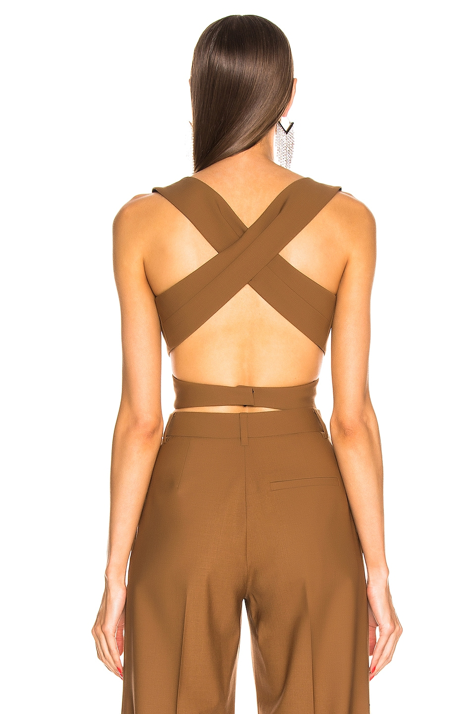 Image 3 of AREA Wrap Crop Top in Caramel