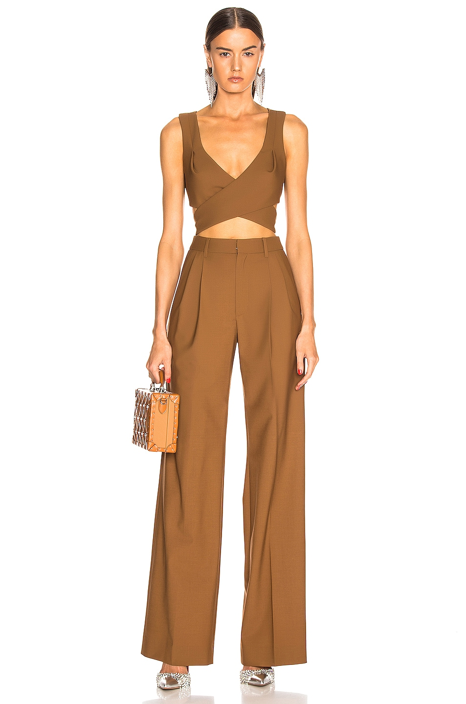 Image 4 of AREA Wrap Crop Top in Caramel