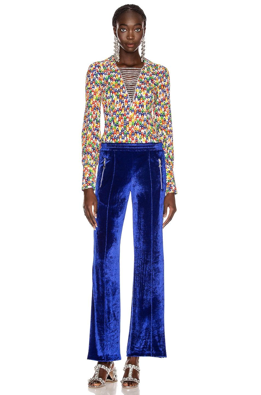 Image 5 of AREA Crystal Plunge Bodysuit in Rainbow