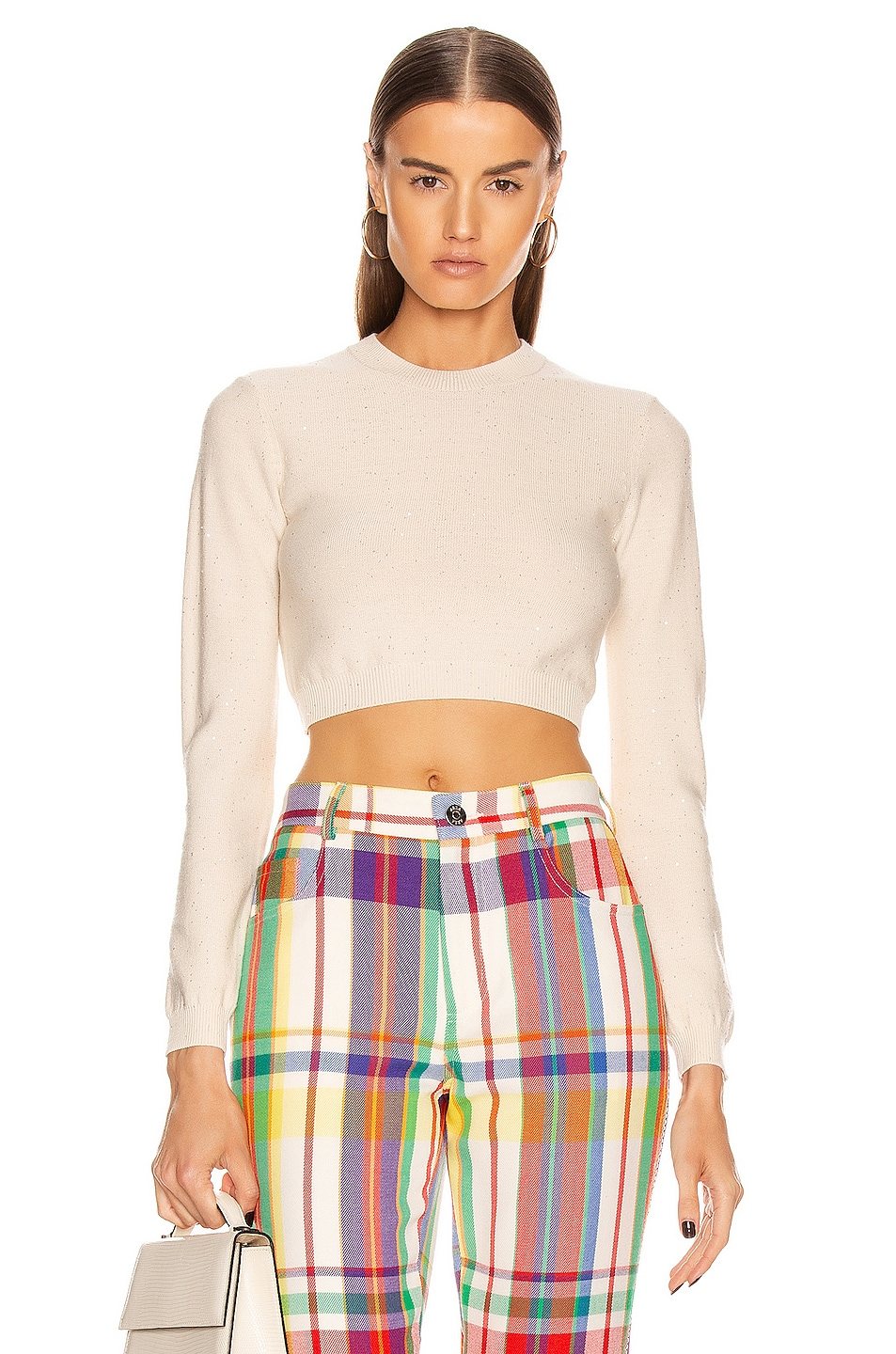 Image 1 of AREA Knit Crop Top in Ivory