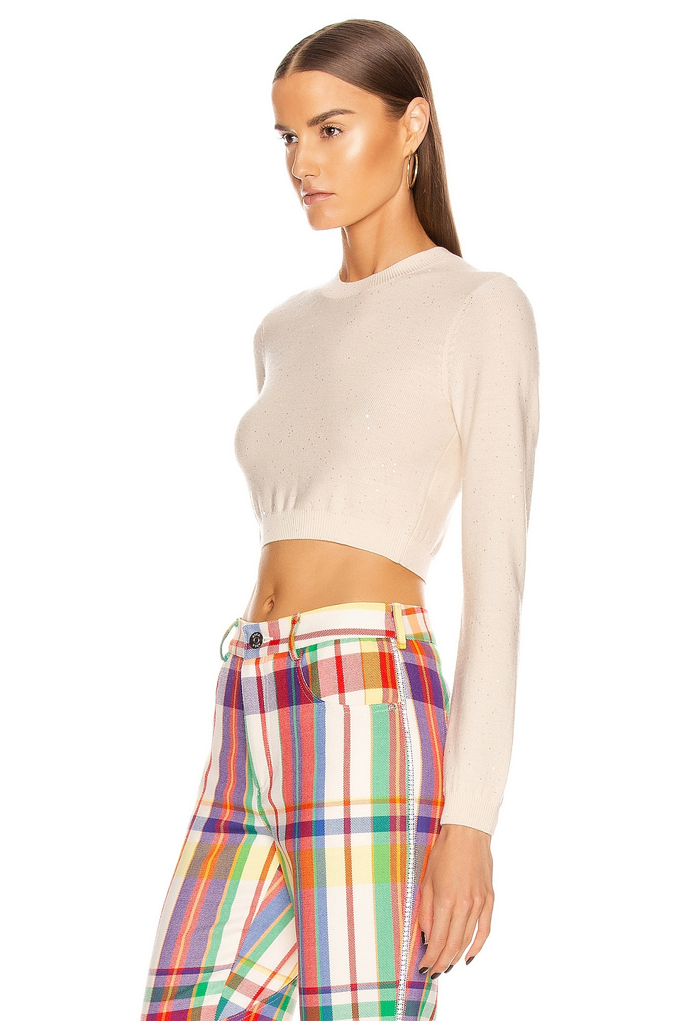 Image 3 of AREA Knit Crop Top in Ivory