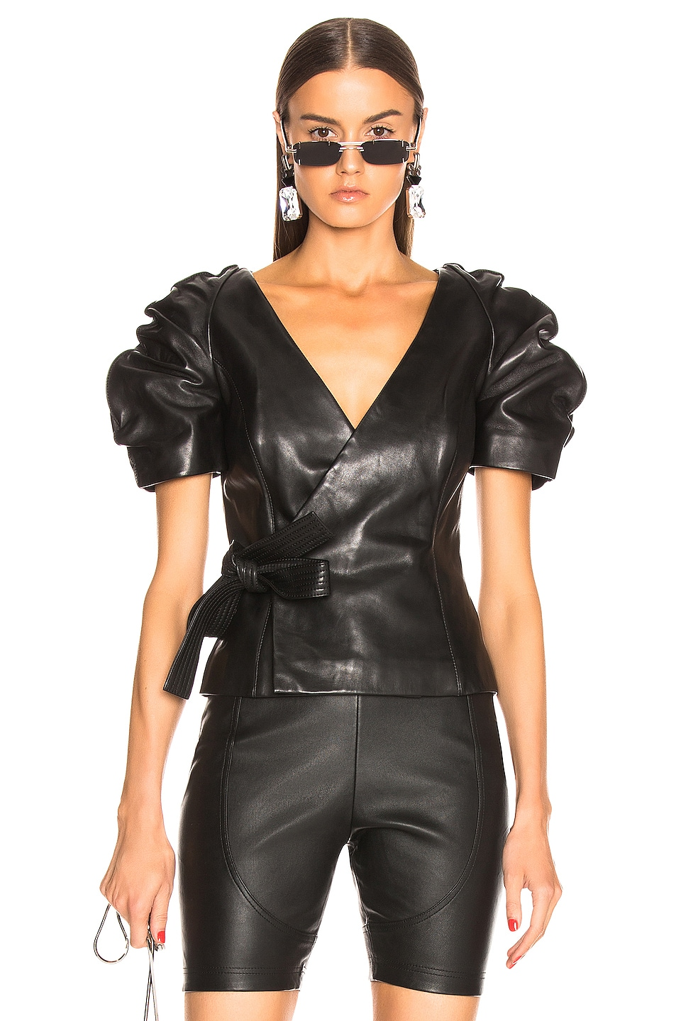 Image 1 of AREA Leather Wrap Top in Black