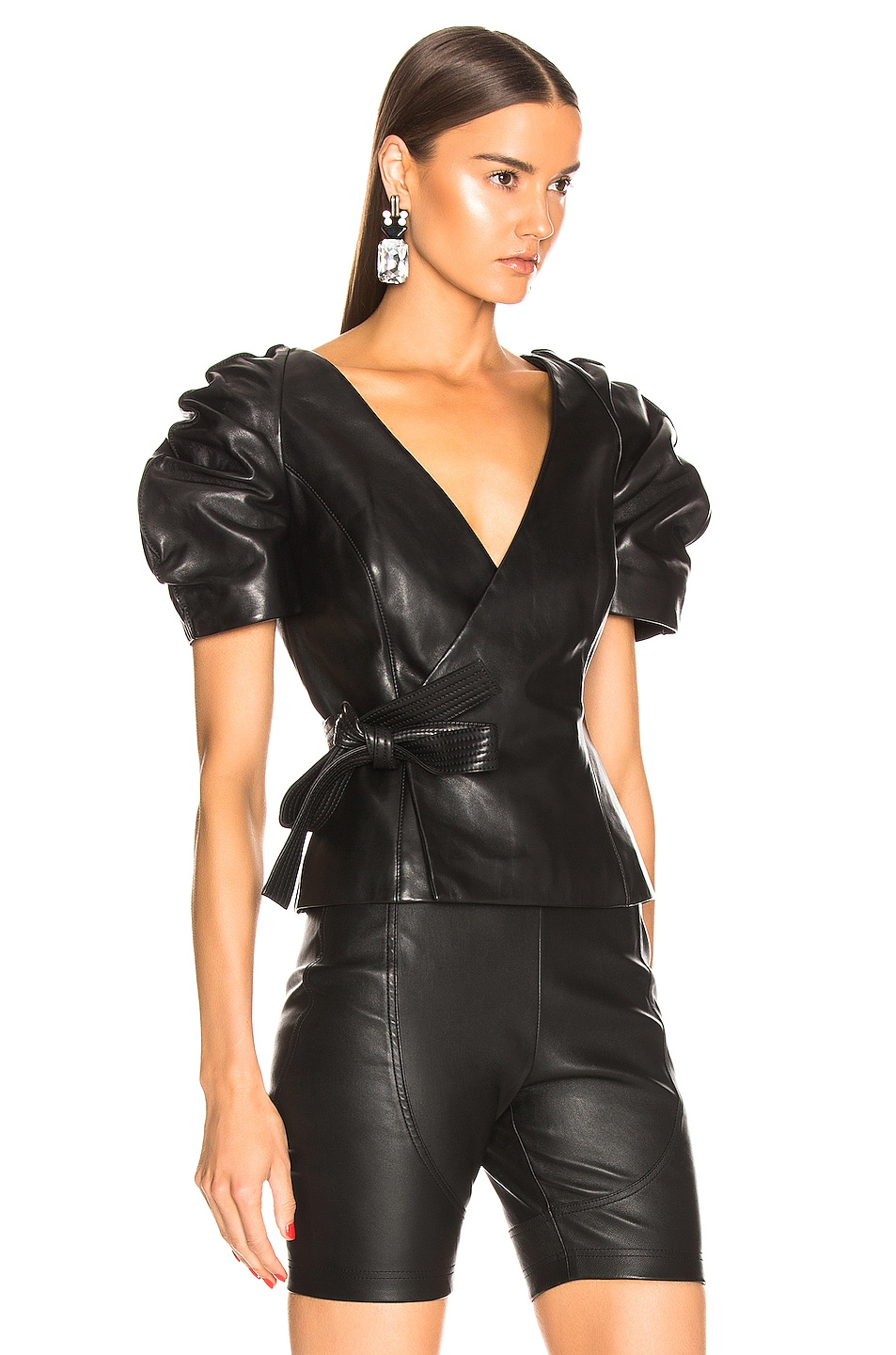 Image 2 of AREA Leather Wrap Top in Black