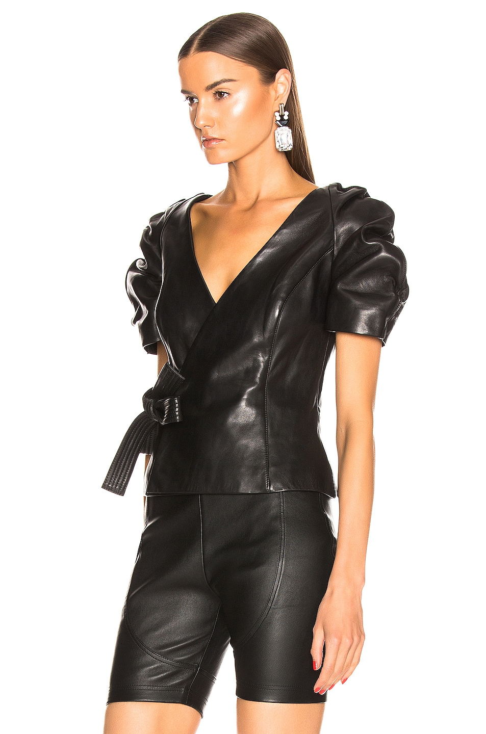 Image 3 of AREA Leather Wrap Top in Black