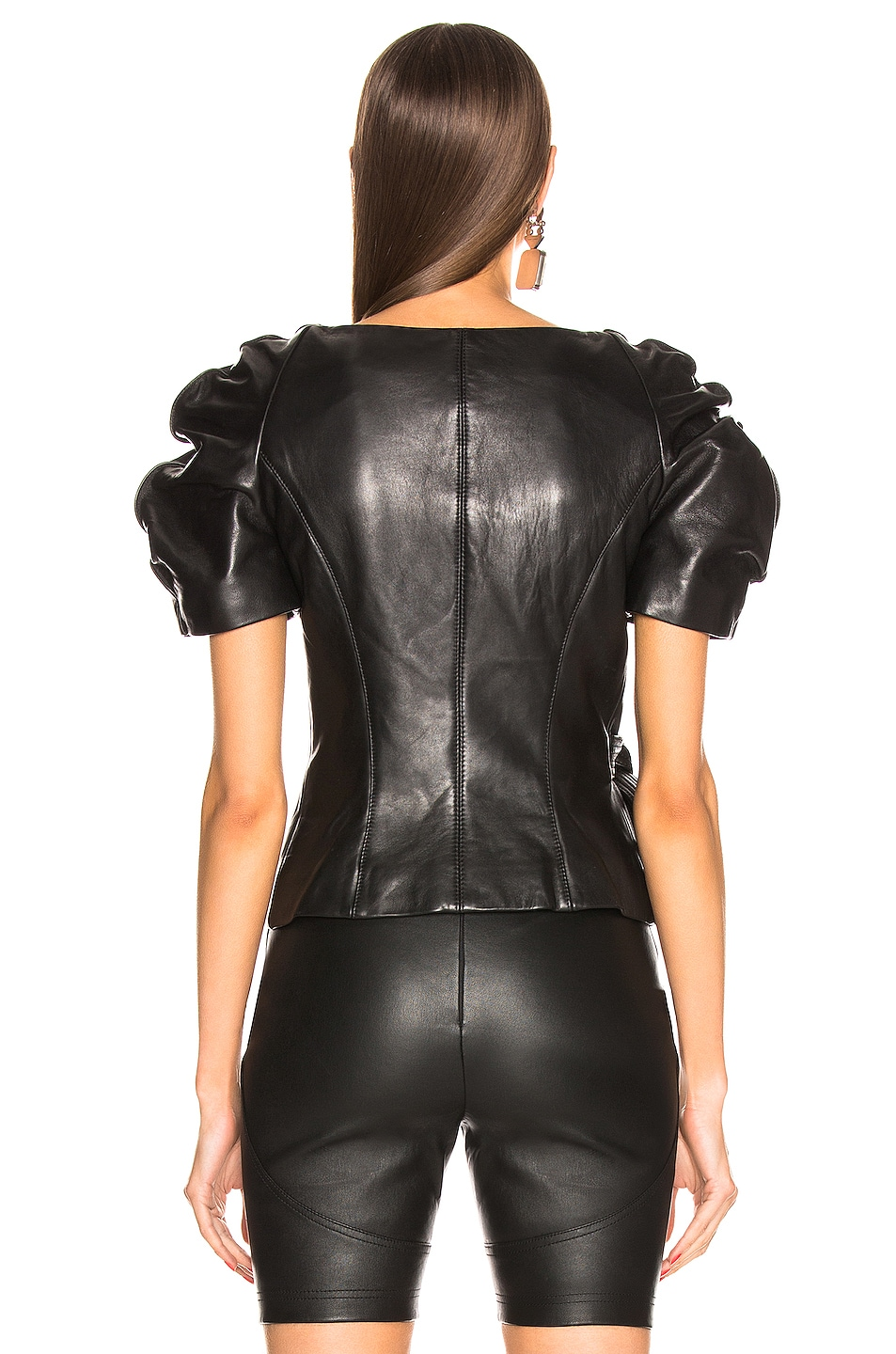 Image 4 of AREA Leather Wrap Top in Black