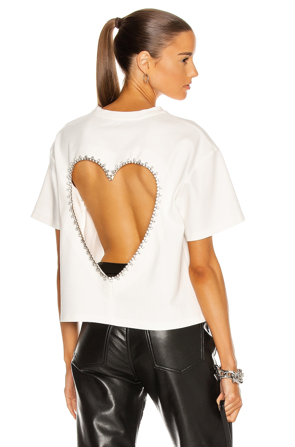 Image 1 of AREA Open Heart Relaxed Tee in White