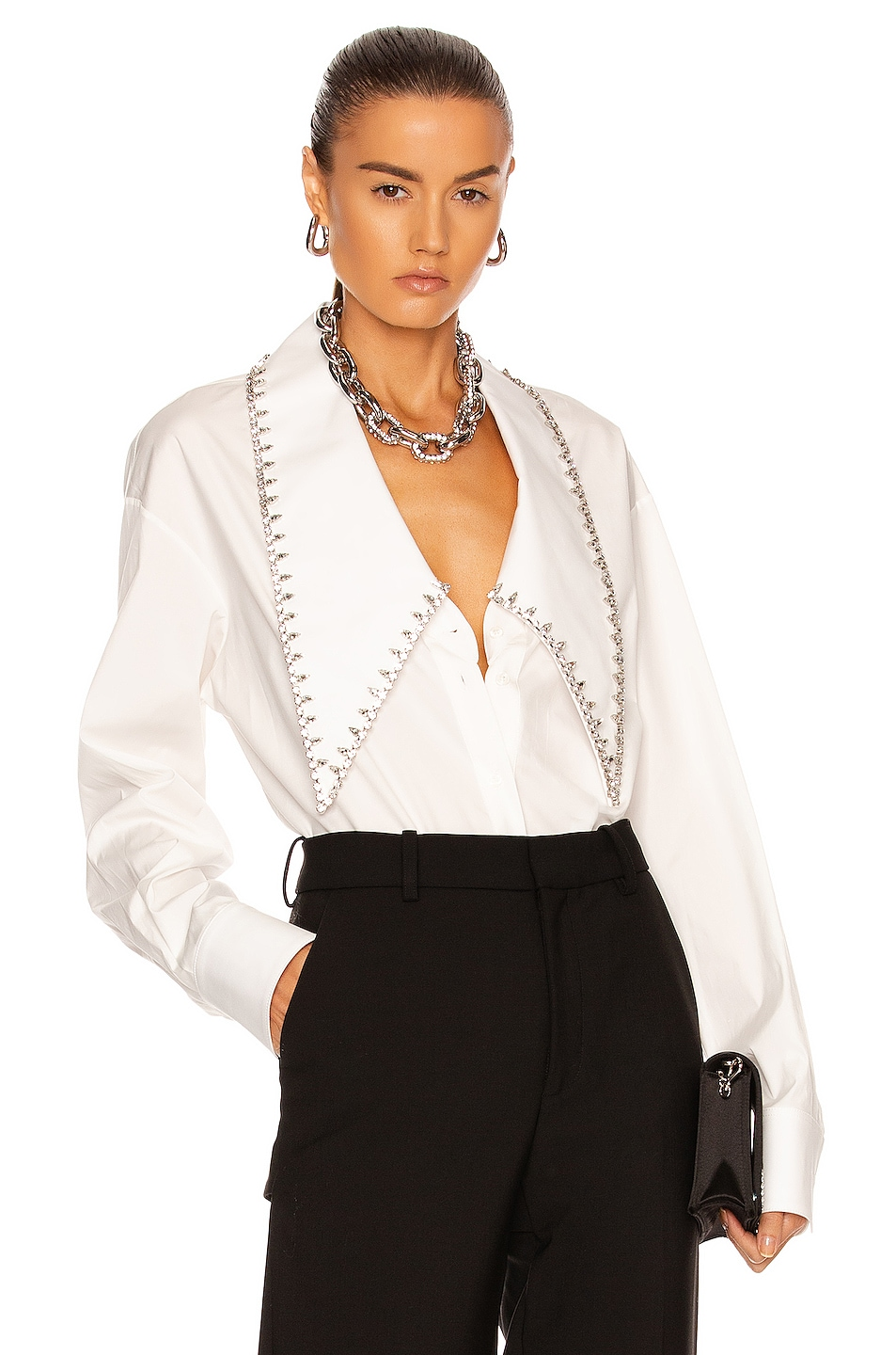 Image 1 of AREA Oversized Crystal Collar Shirt in White