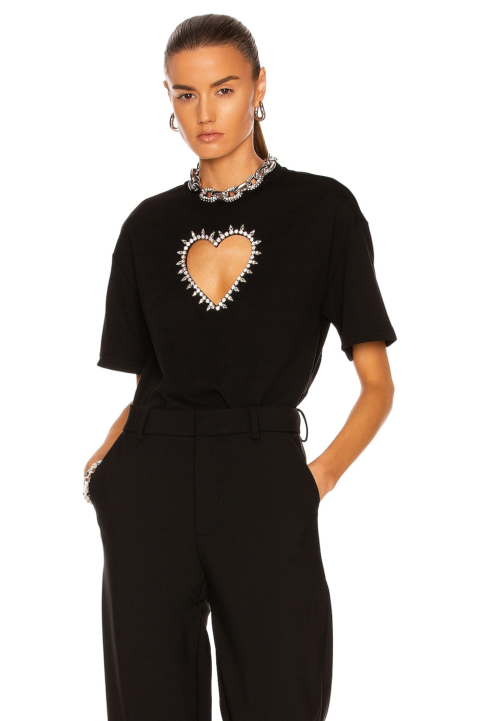 Image 1 of AREA Heart Cutout Relaxed T-Shirt in Black