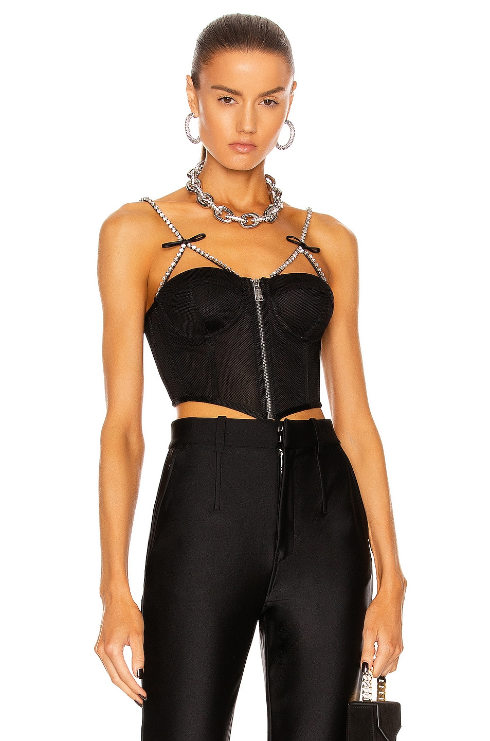 Image 1 of AREA Crystal Bow Strap Bustier Top in Black