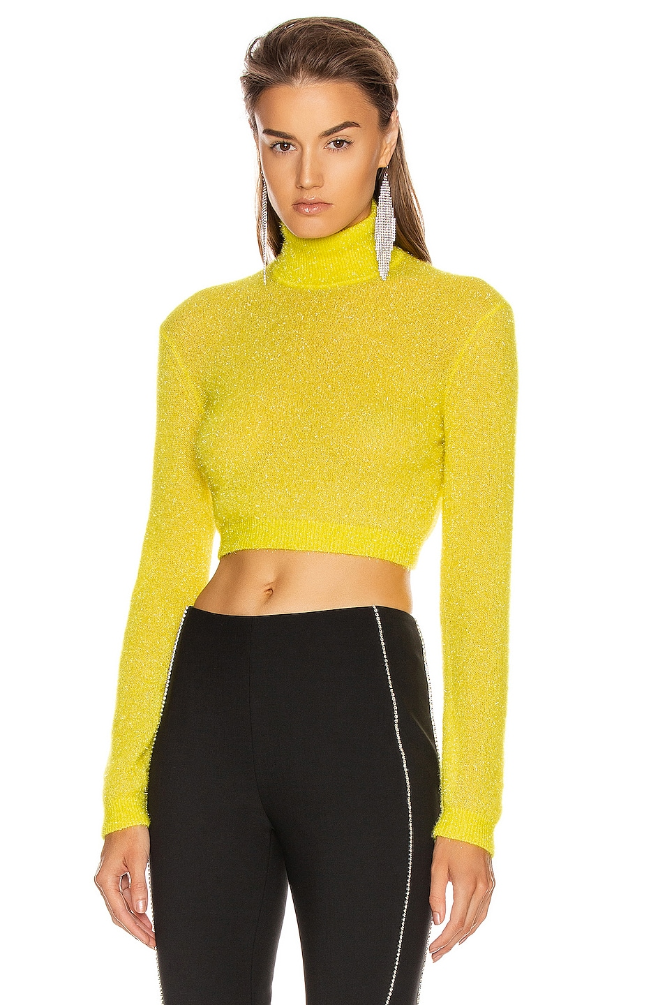 Image 1 of AREA Turtleneck Crop Top in Yellow