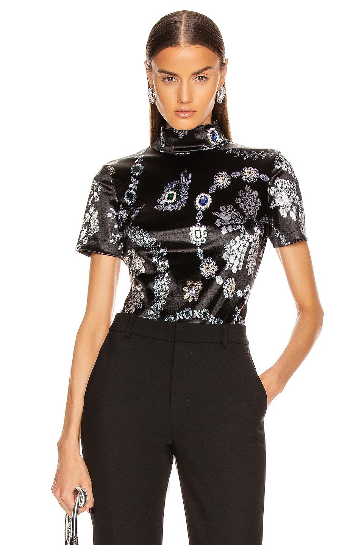 Image 1 of AREA Crystal Stripe Bodysuit in Jewelry Print