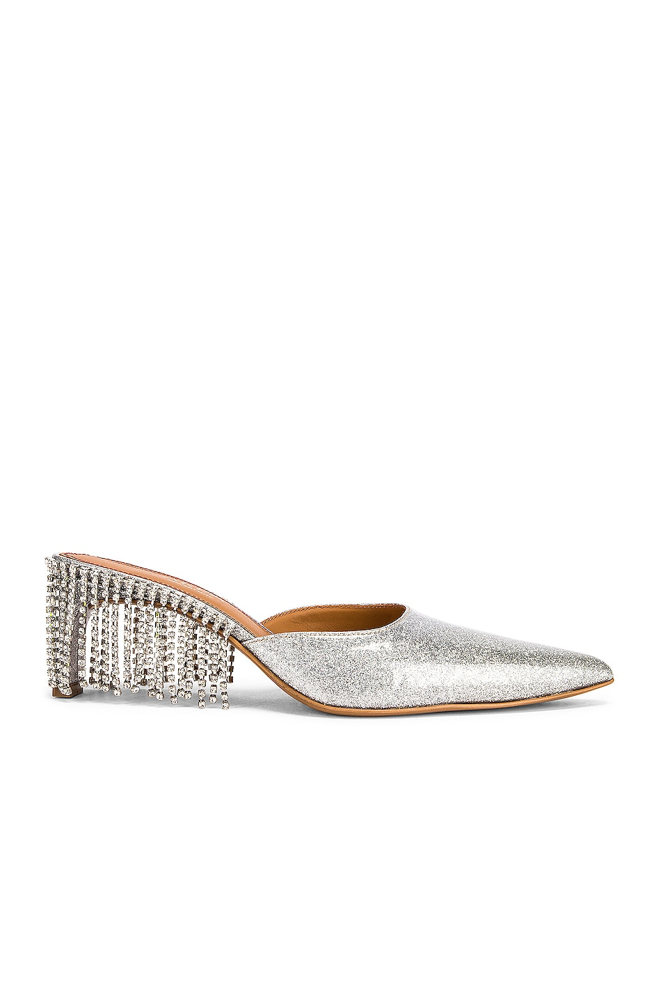 Image 1 of AREA Crystal Fringe Kitten Heel in Silver