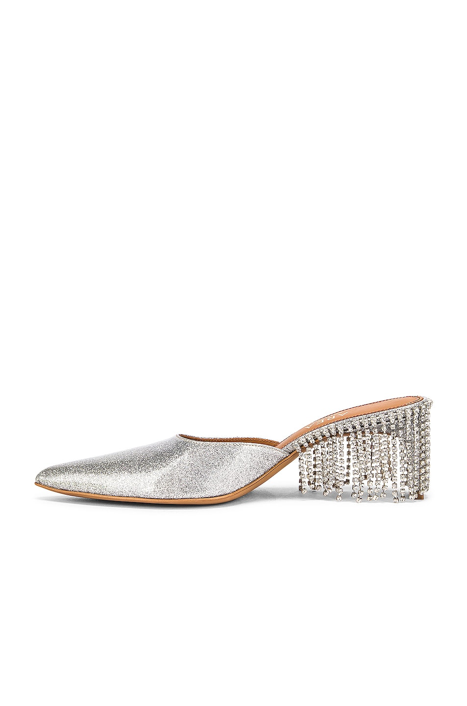 Image 5 of AREA Crystal Fringe Kitten Heel in Silver