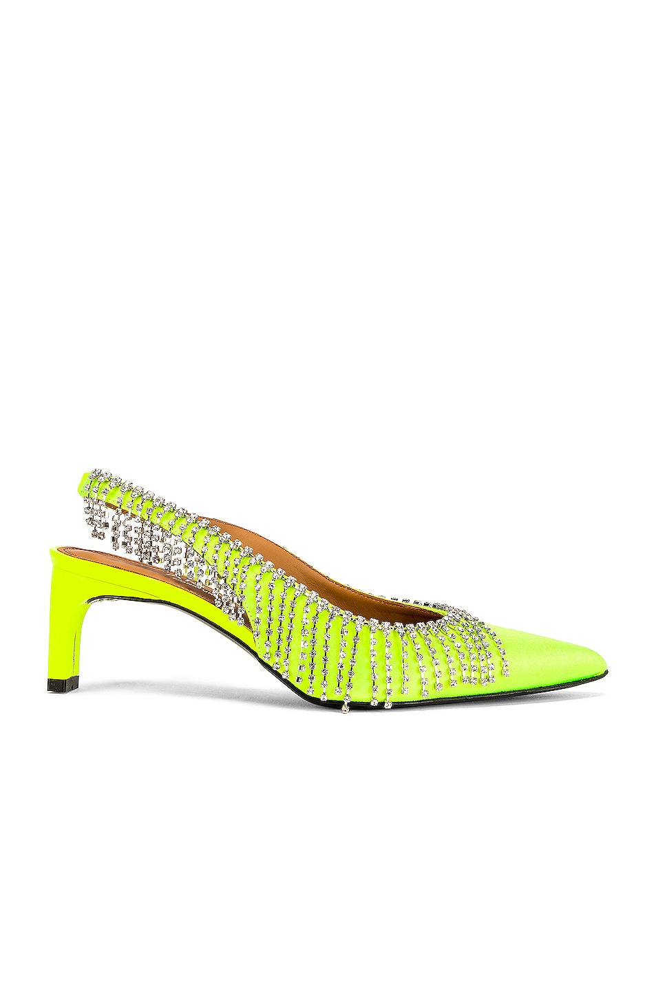 Image 1 of AREA Crystal Fringe Satin Slingback in Neon