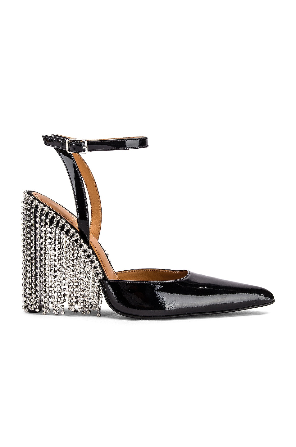 Image 1 of AREA Crystal Fringe Patent High Heel in Black