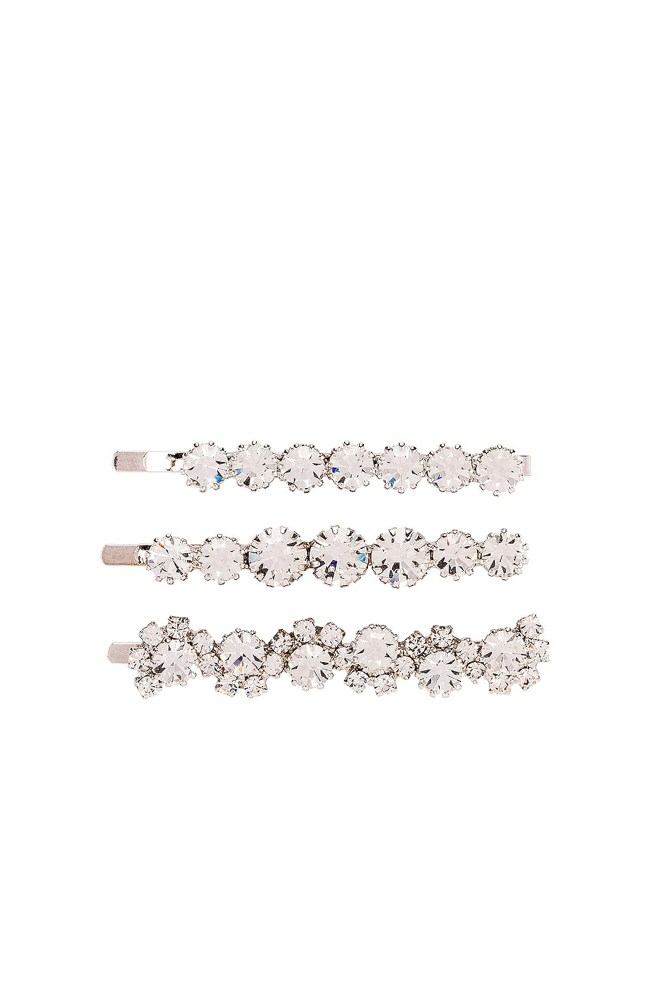 Image 1 of Alessandra Rich Set of 3 Hair Pins in Crystal