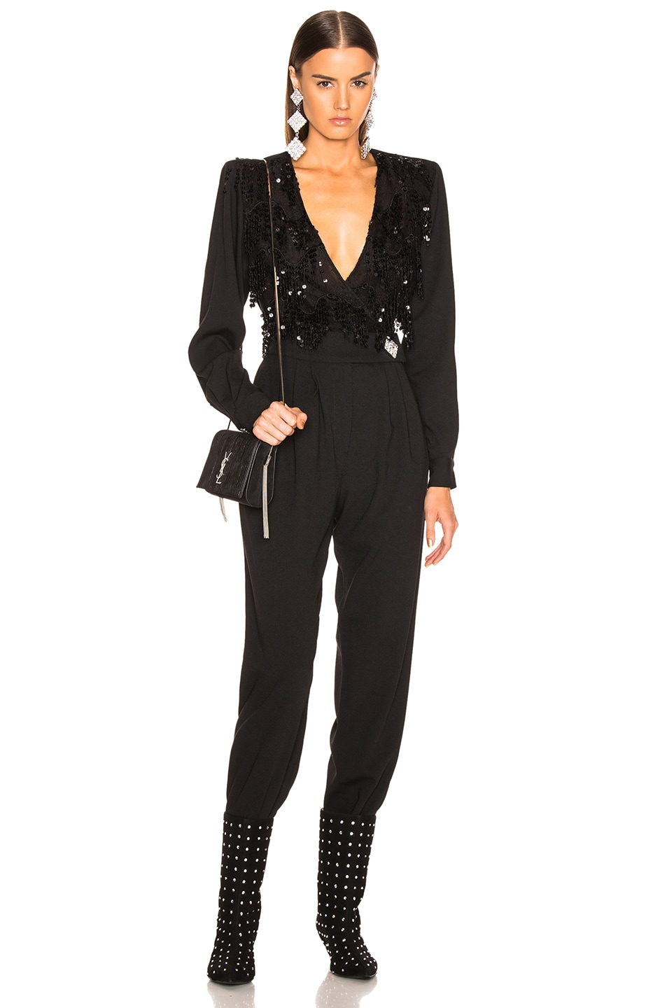 Image 1 of Alessandra Rich Embellished Lace Top Jumpsuit in Black