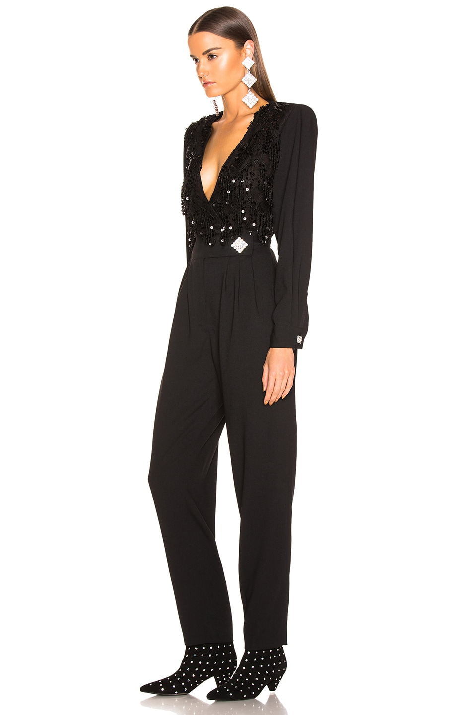 Image 3 of Alessandra Rich Embellished Lace Top Jumpsuit in Black