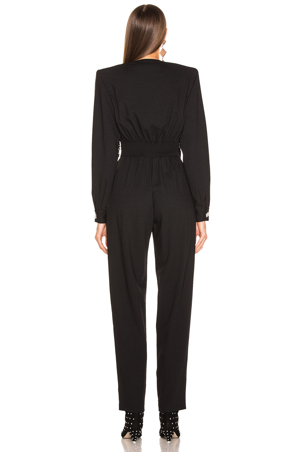 Image 4 of Alessandra Rich Embellished Lace Top Jumpsuit in Black