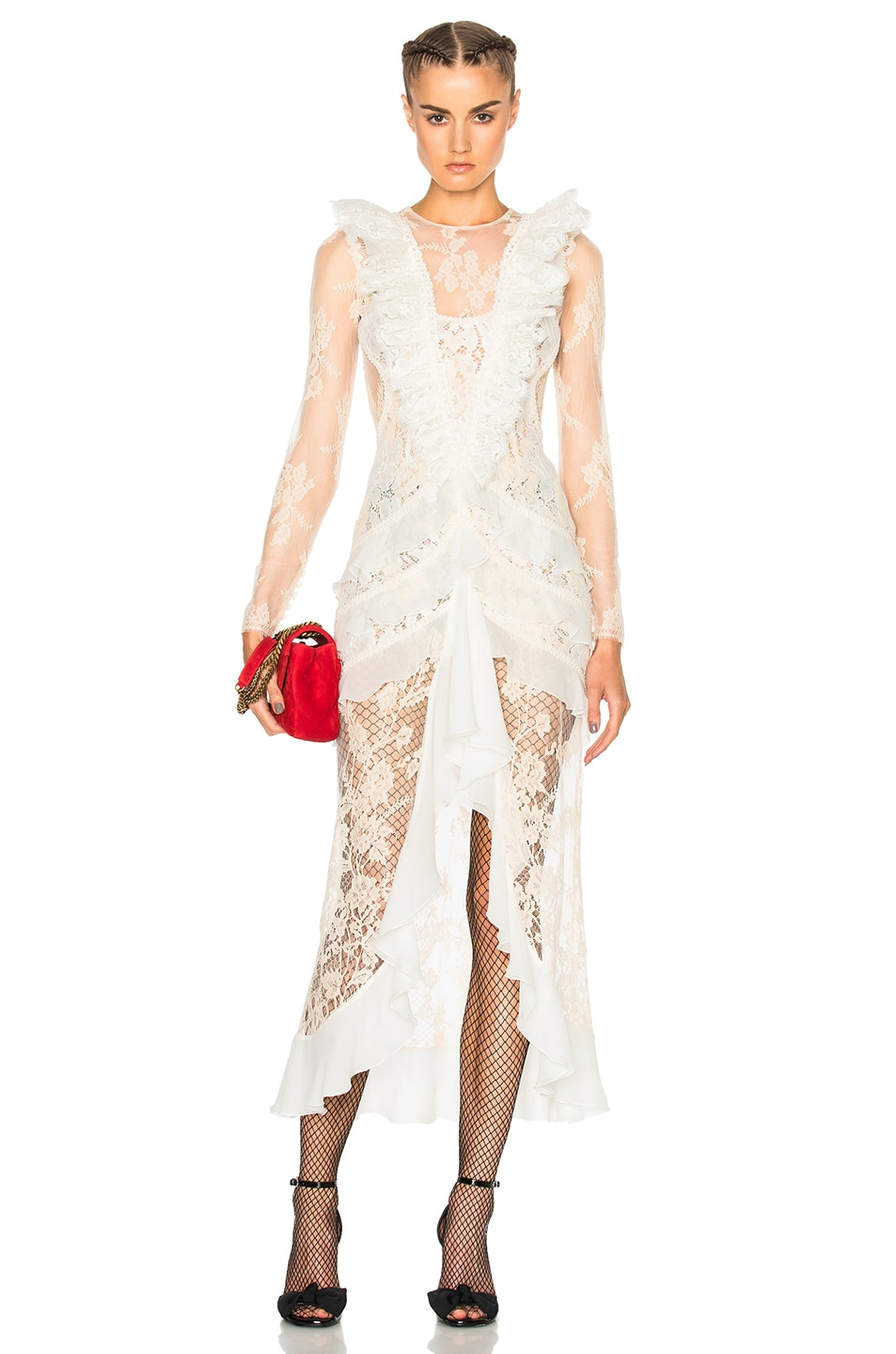 Image 1 of Alessandra Rich Chantilly Lace Nymph Dress in White