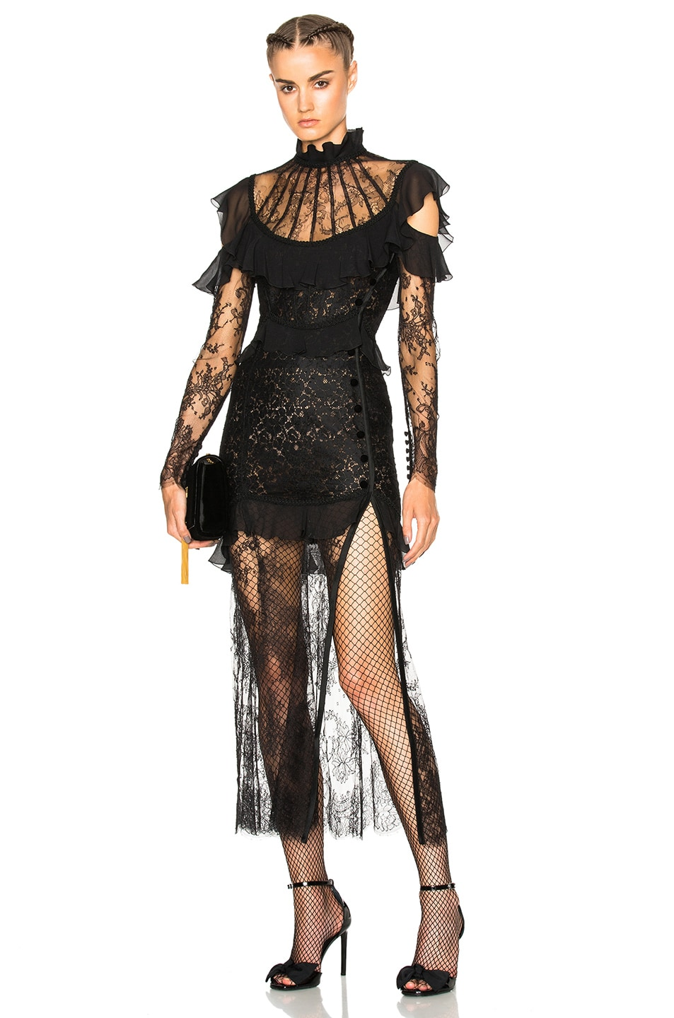 Image 1 of Alessandra Rich Lace Decollete Chantilly Lace Dress in Black f41efeeccac