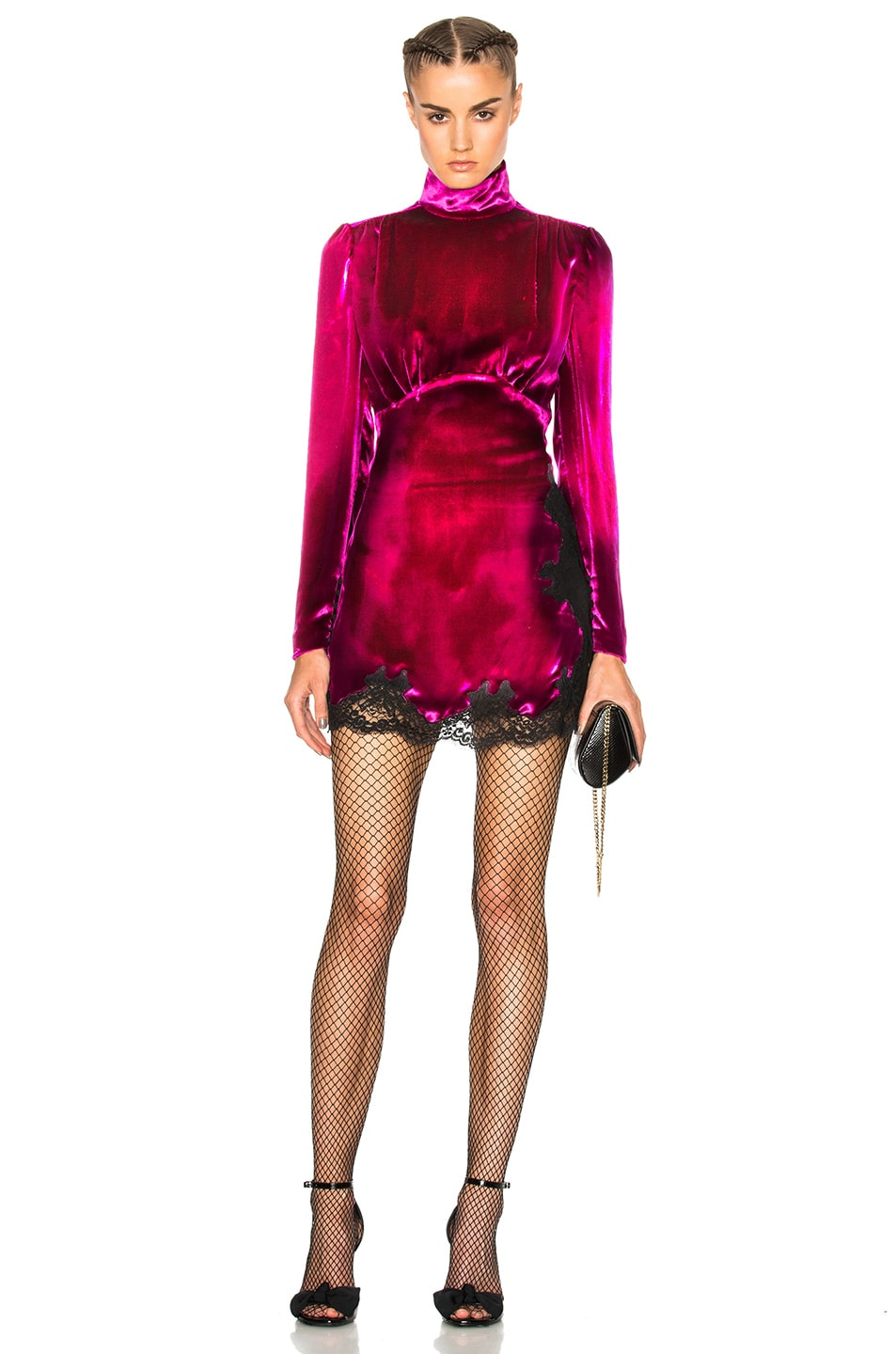 Image 1 of Alessandra Rich Velvet Baby Doll Dress in Fuchsia