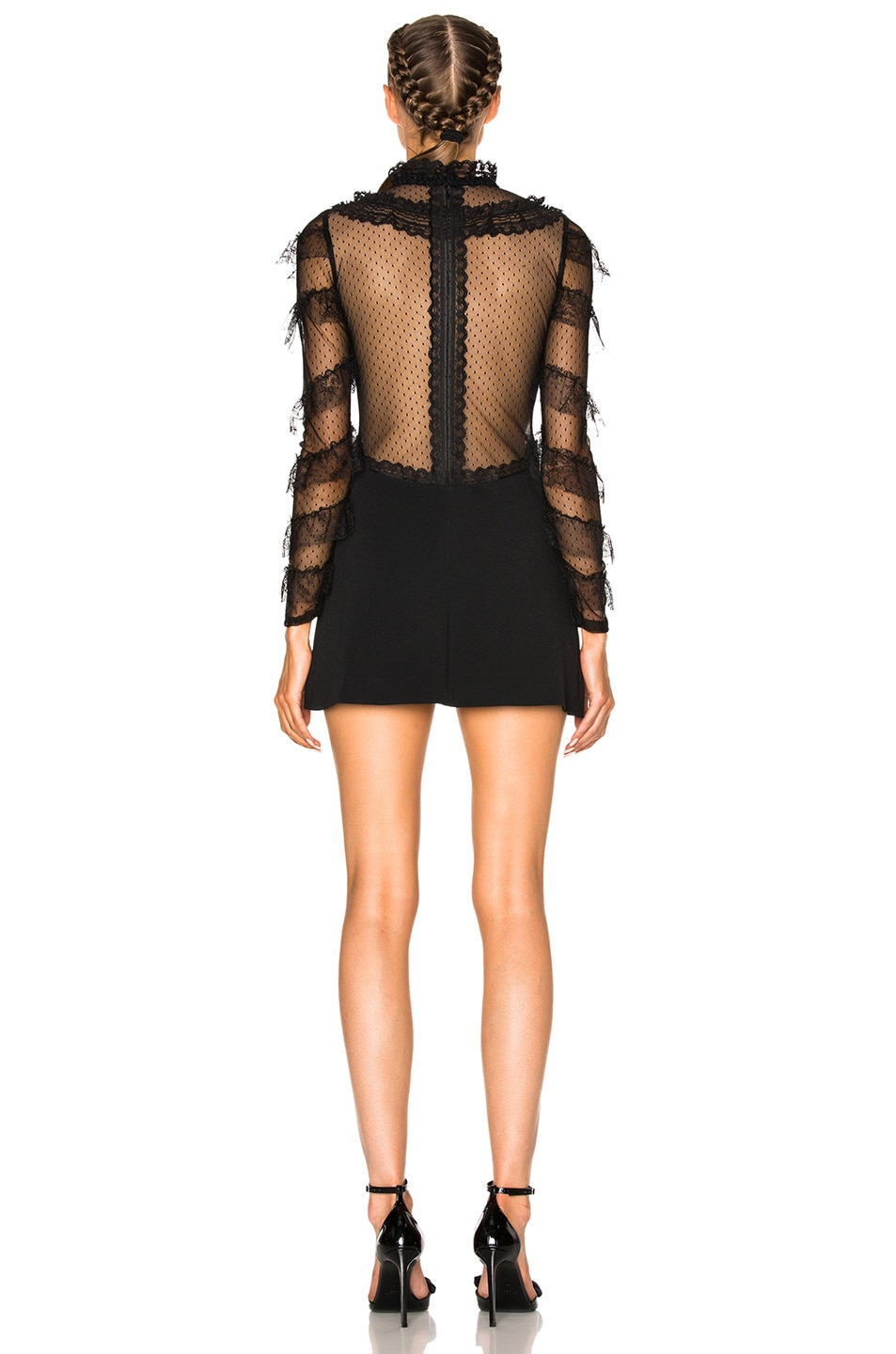 Image 4 of Alessandra Rich Cady & Feathers Dress in Black