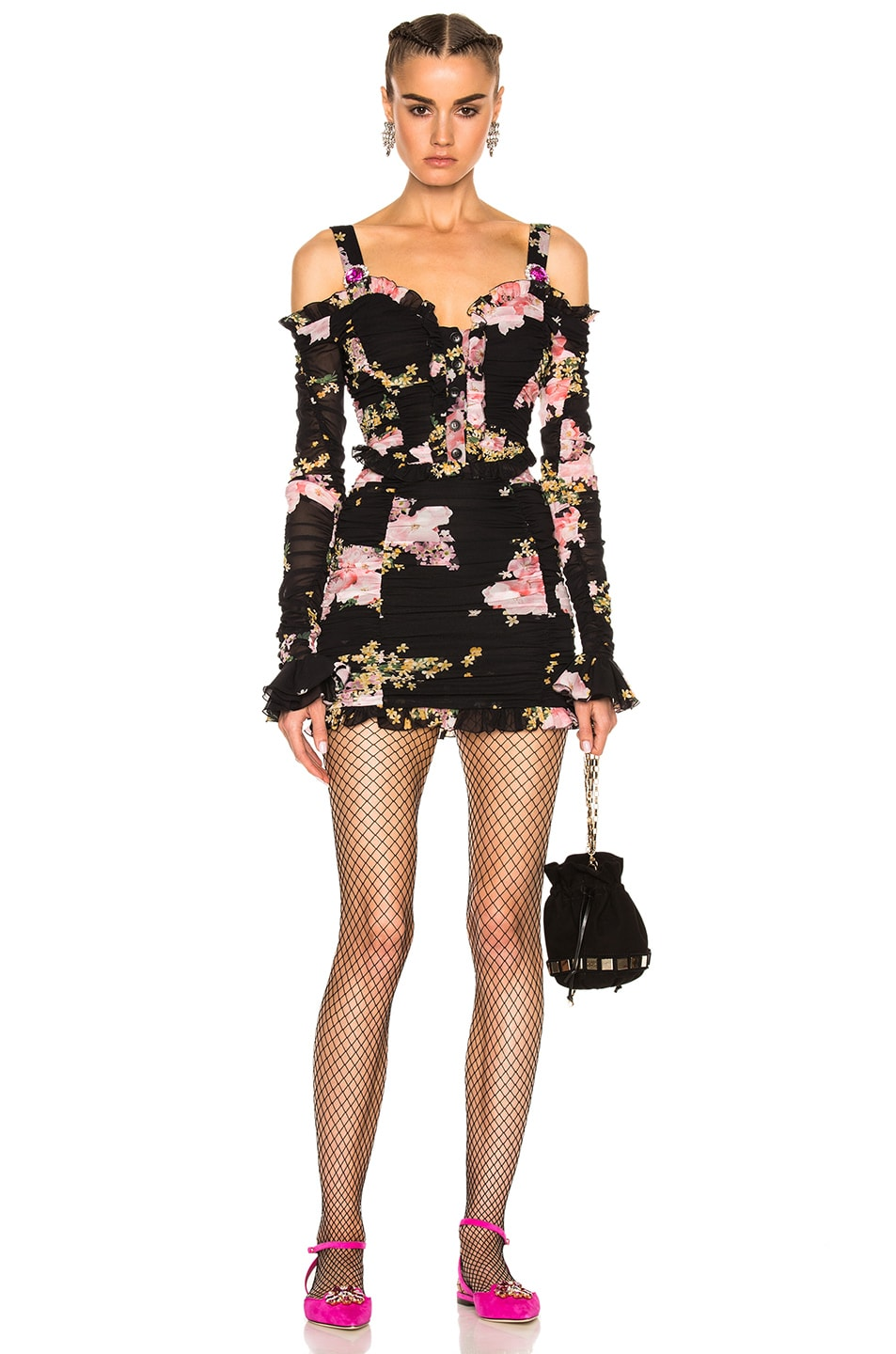 Image 1 of Alessandra Rich Floral Mini Dress in Black & Pink