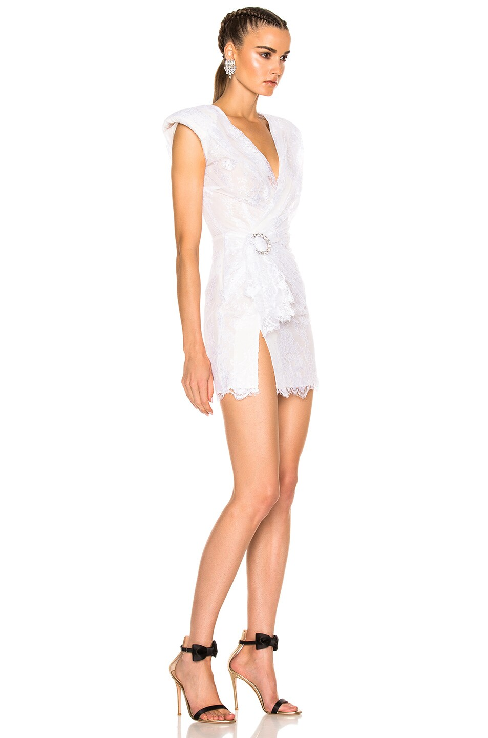 Image 3 of Alessandra Rich Lace Mini Dress in White