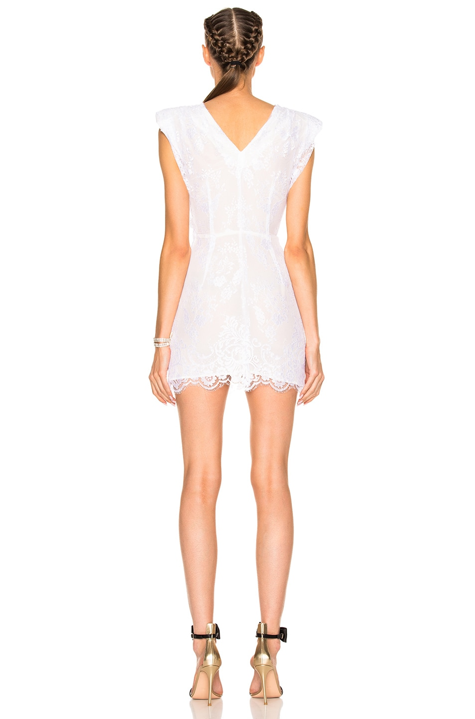 Image 4 of Alessandra Rich Lace Mini Dress in White