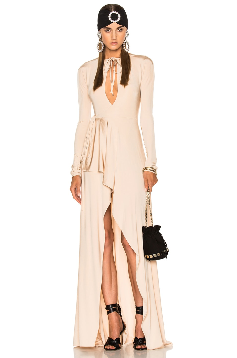 Image 1 of Alessandra Rich Jersey Asymmetrical Gown in Nude