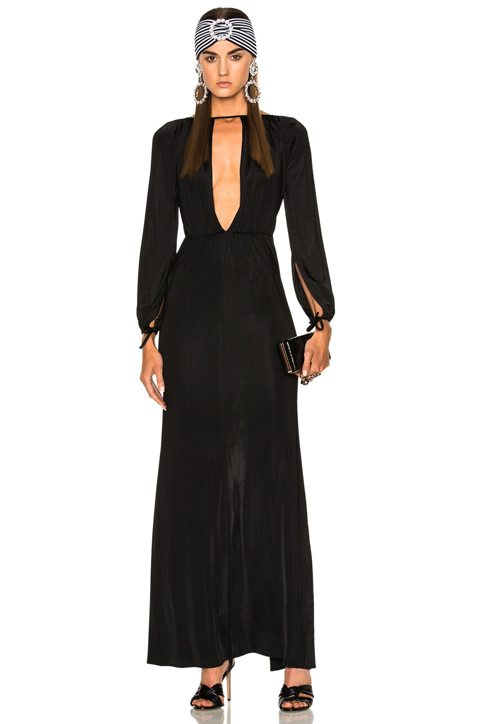 Image 1 of Alessandra Rich Jersey Deep V Gown in Black