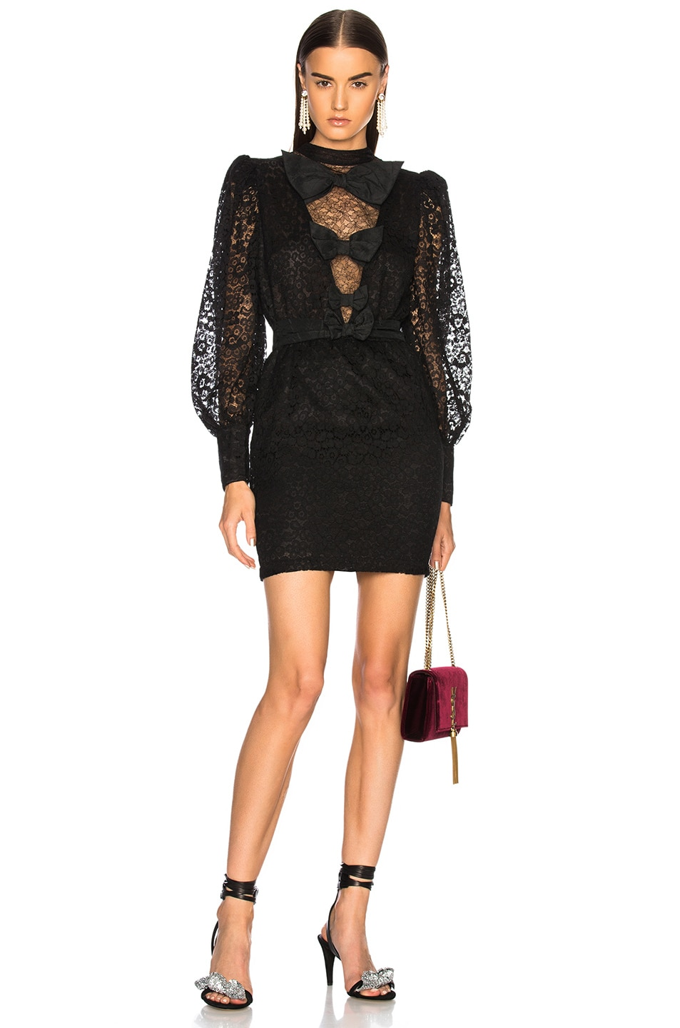 Image 1 of Alessandra Rich Bow Detail Mini Dress in Black