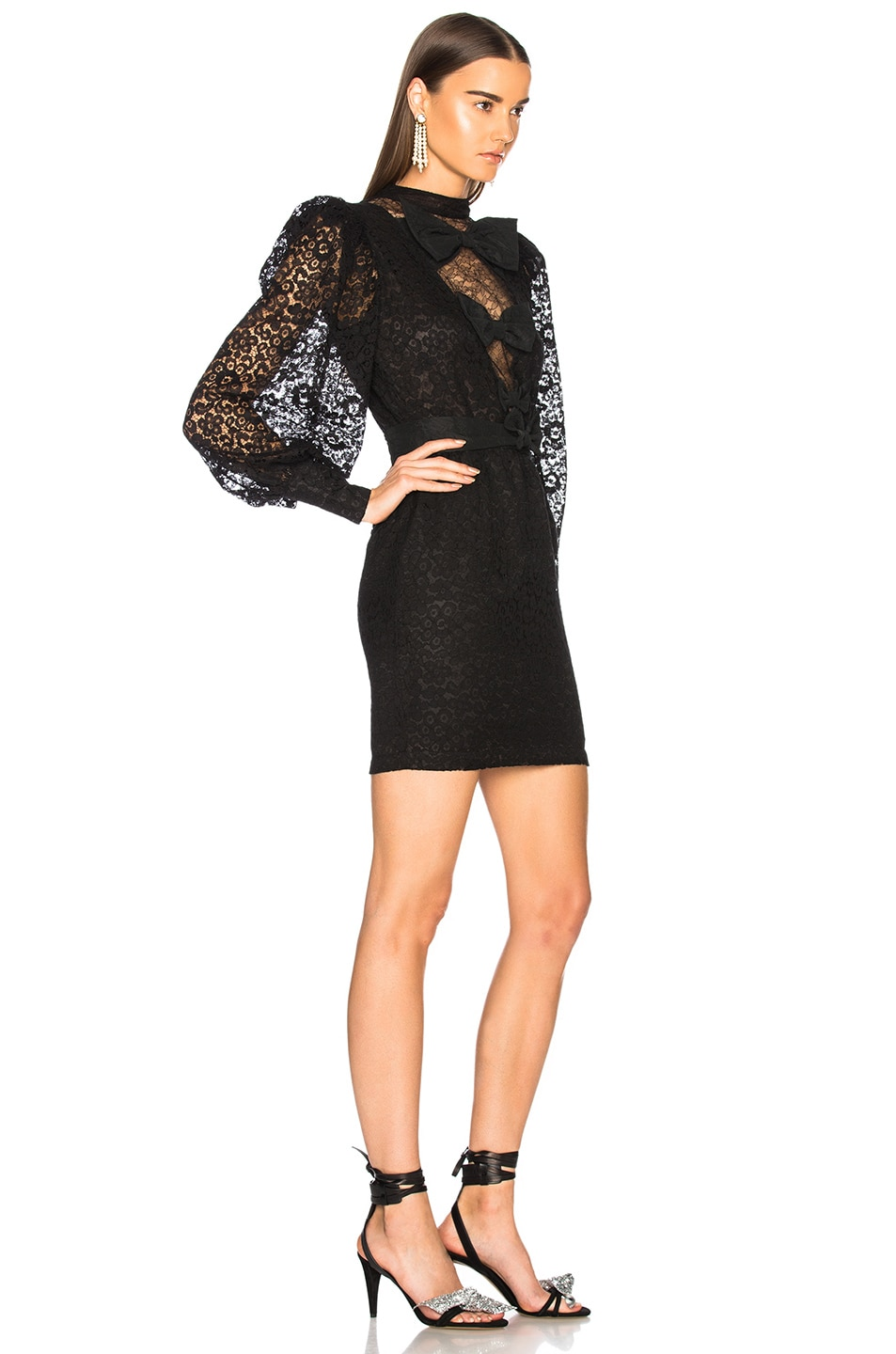 Image 2 of Alessandra Rich Bow Detail Mini Dress in Black