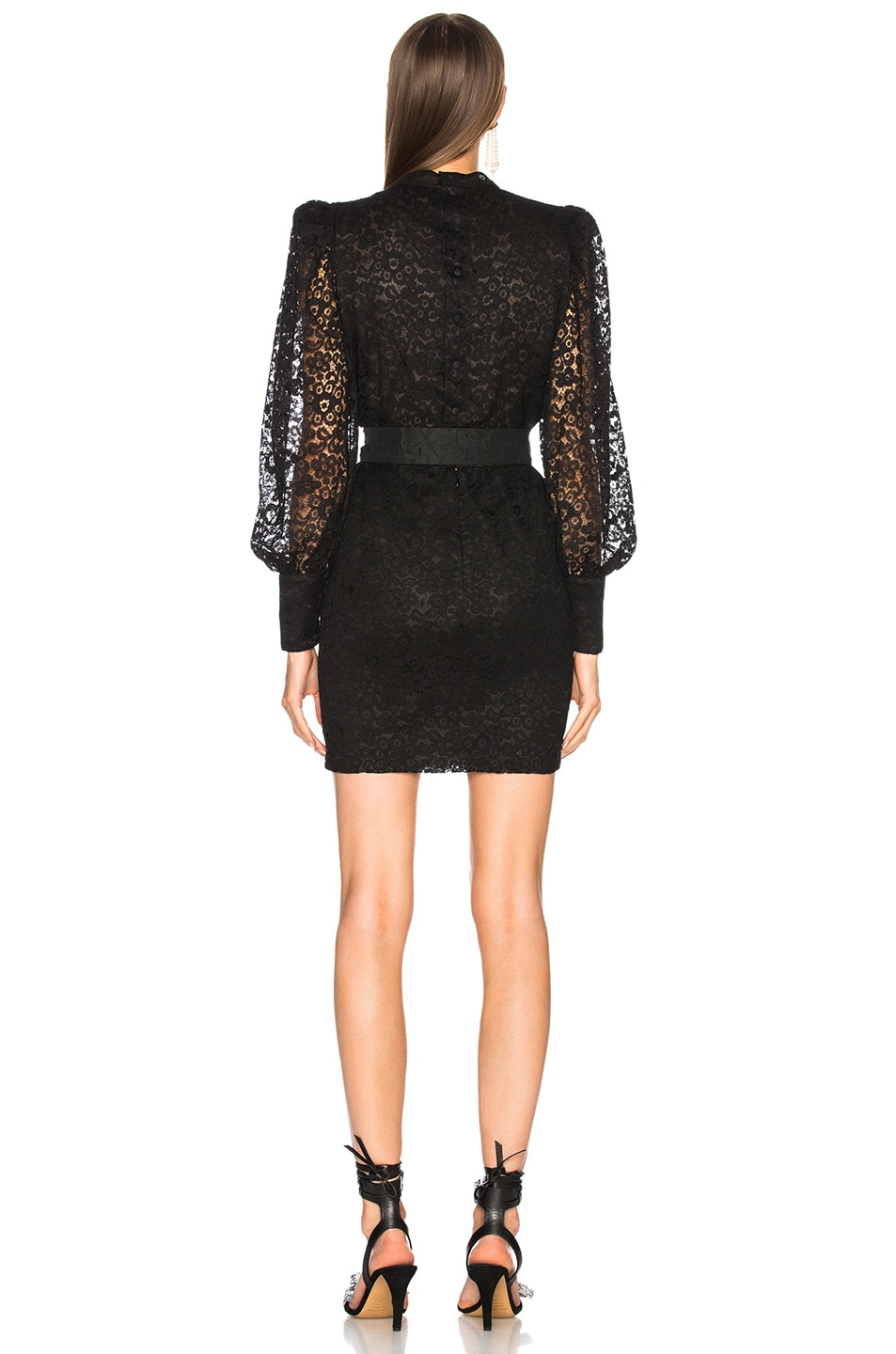 Image 3 of Alessandra Rich Bow Detail Mini Dress in Black