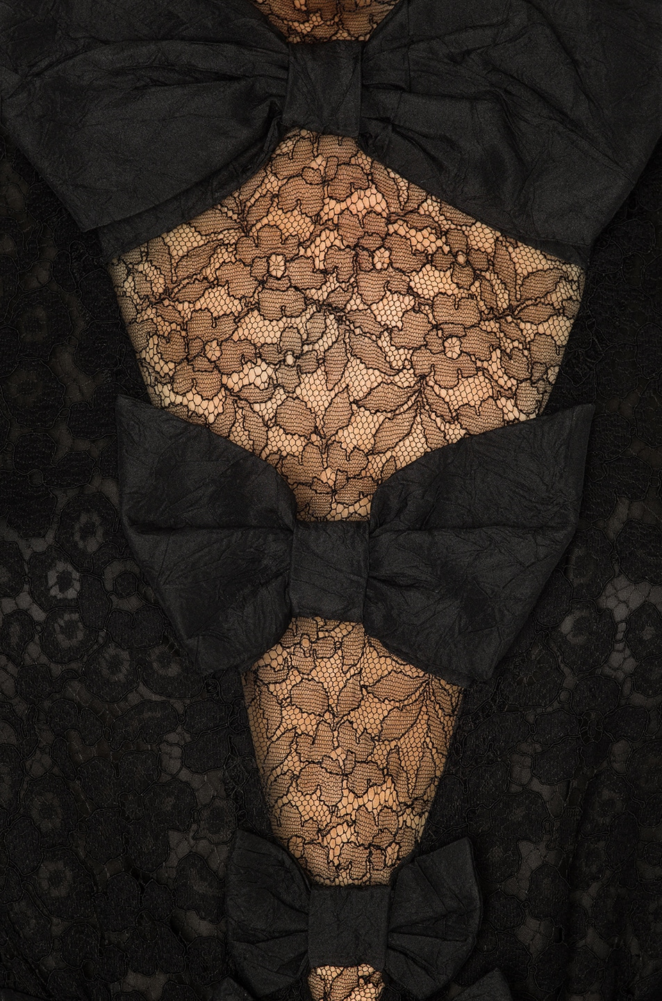 Image 4 of Alessandra Rich Bow Detail Mini Dress in Black