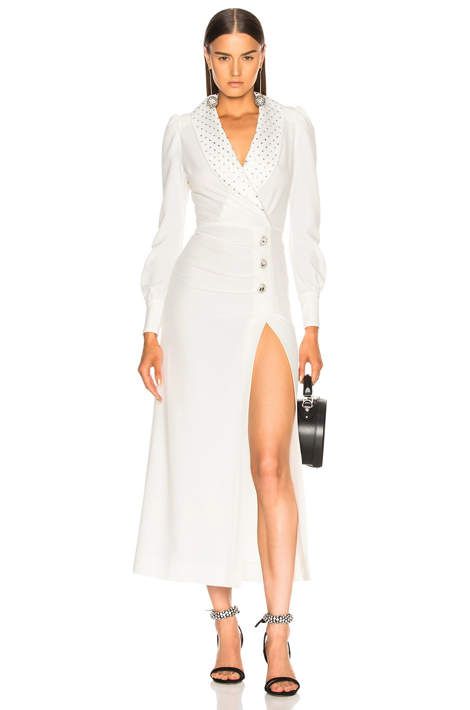 Alessandra Rich Hollywood Dress with Crystal Collar in White