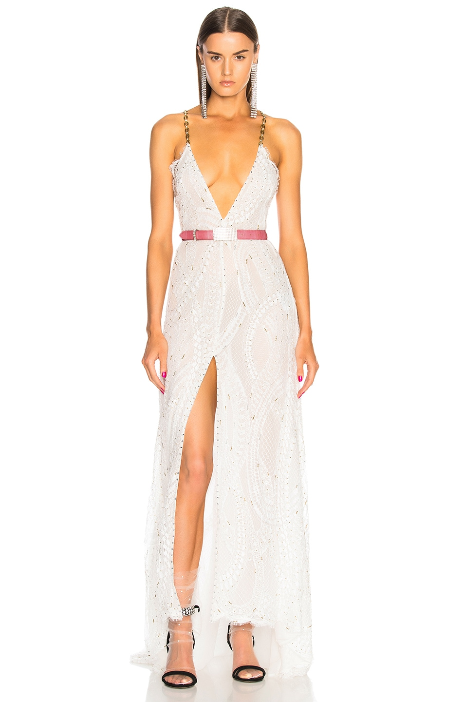 Alessandra Rich Crystal Embroidered Plunging Lace Gown in White