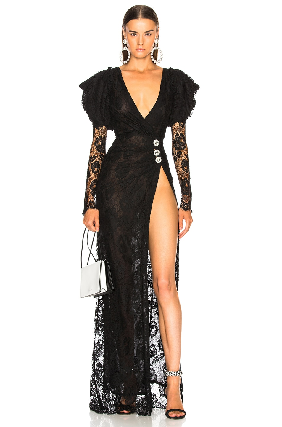 Alessandra Rich Puff Sleeve Lace Gown in Black