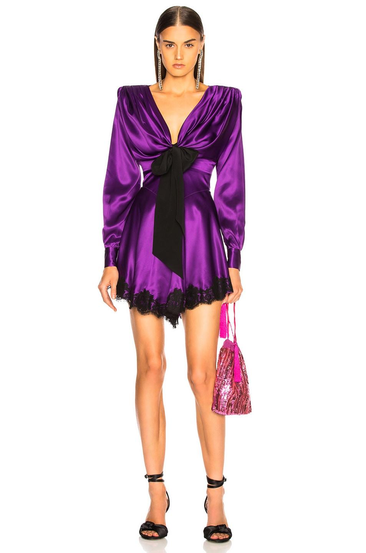 Image 1 of Alessandra Rich Lace Trim Satin Mini Dress in Purple