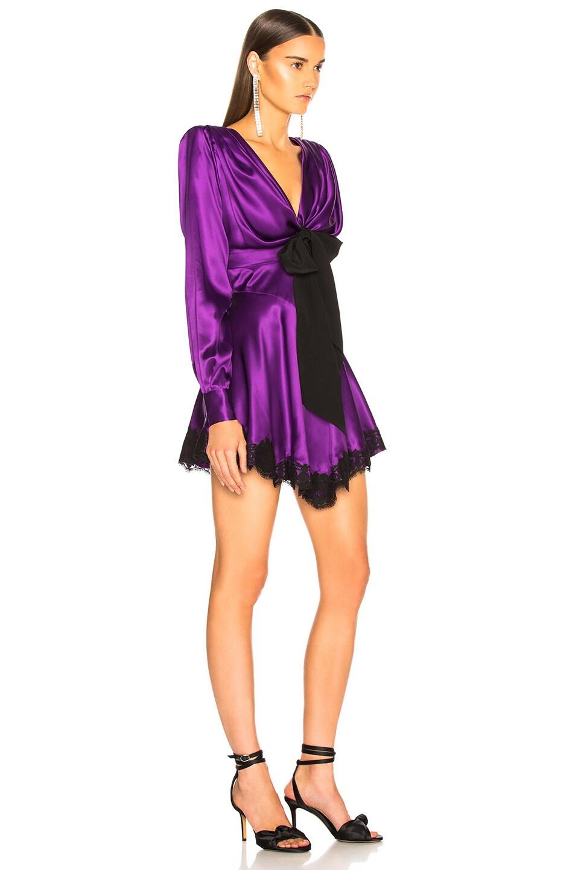 Image 2 of Alessandra Rich Lace Trim Satin Mini Dress in Purple