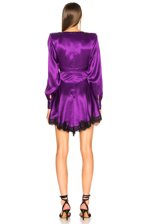Image 3 of Alessandra Rich Lace Trim Satin Mini Dress in Purple