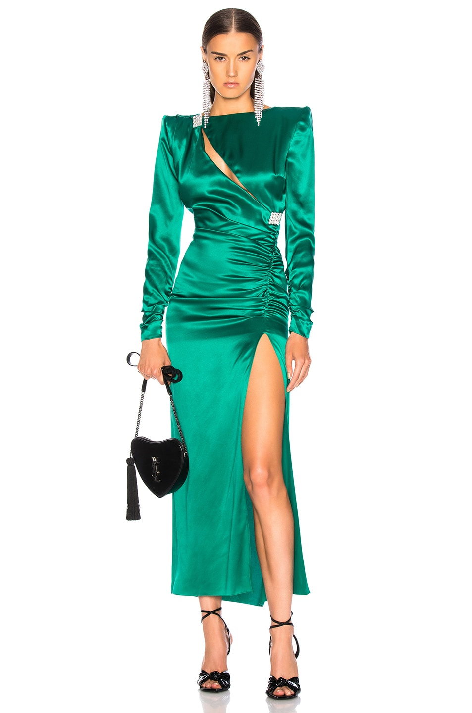 Image 1 of Alessandra Rich Slashed Front Silk Satin Gown in Green