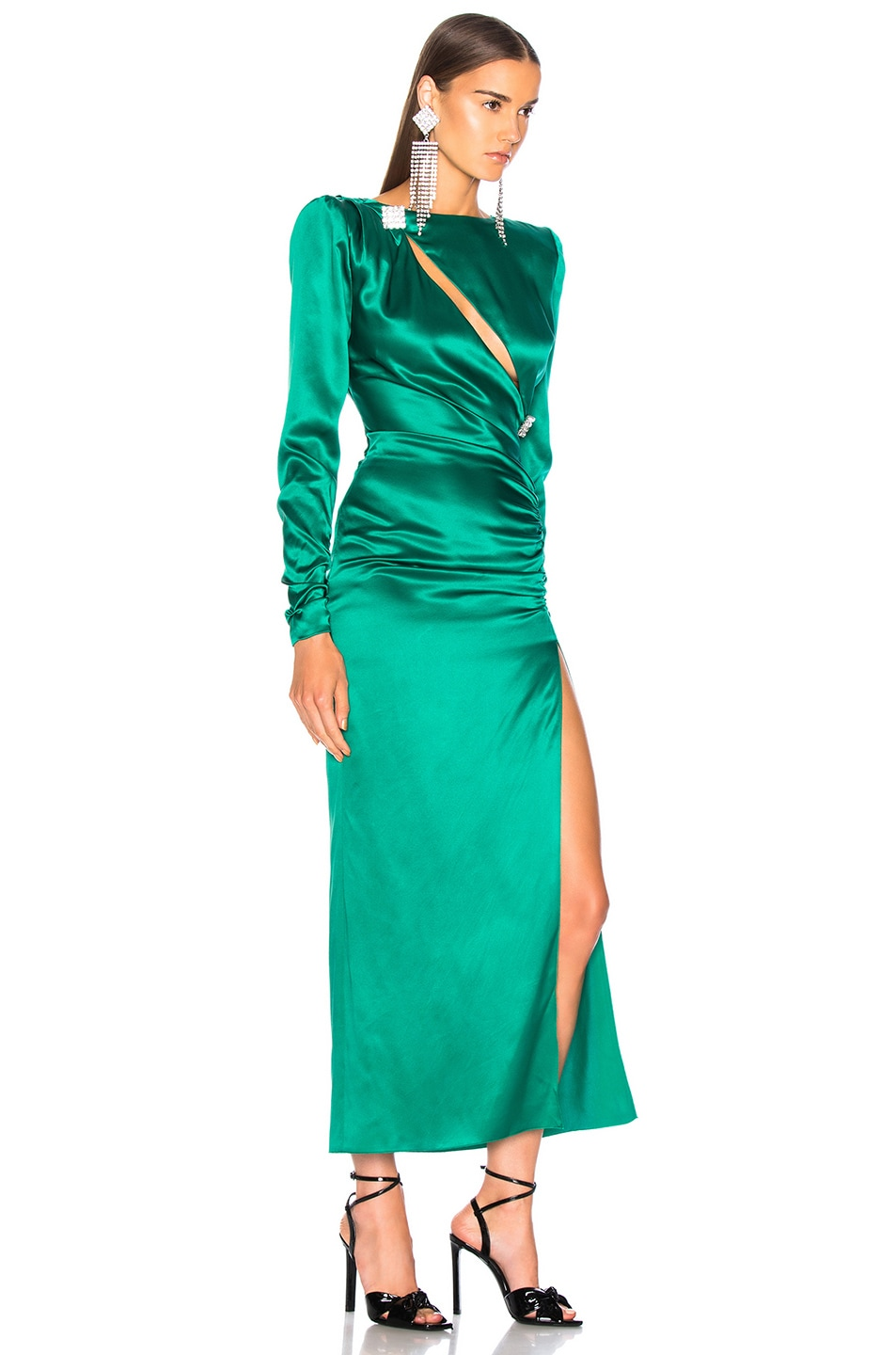 Image 2 of Alessandra Rich Slashed Front Silk Satin Gown in Green